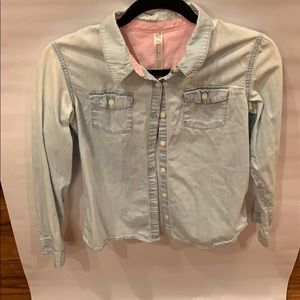 Faded light blue button down